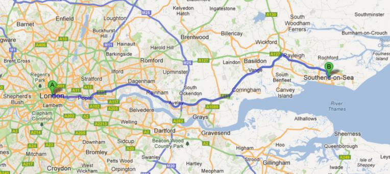 A distância entre Londres e Southend.