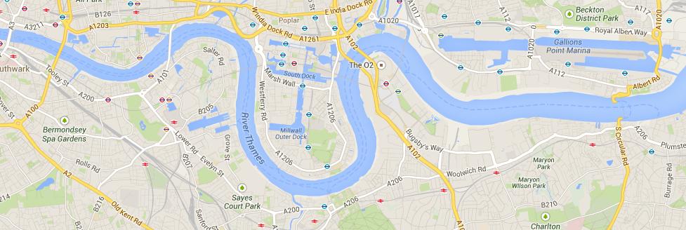 Docklands vai basicamente da London Bridge (esquerda) até Beckton.