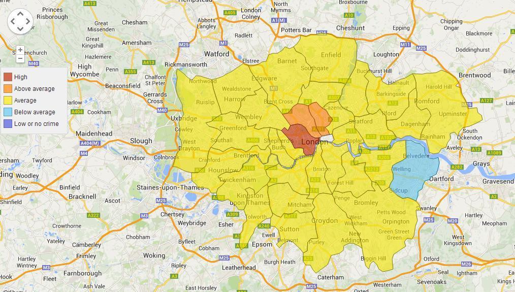 As regiões tidas como as mais perigosas são as áreas turísticas da cidade e Stratford, onde fica o Parque Olímpico.