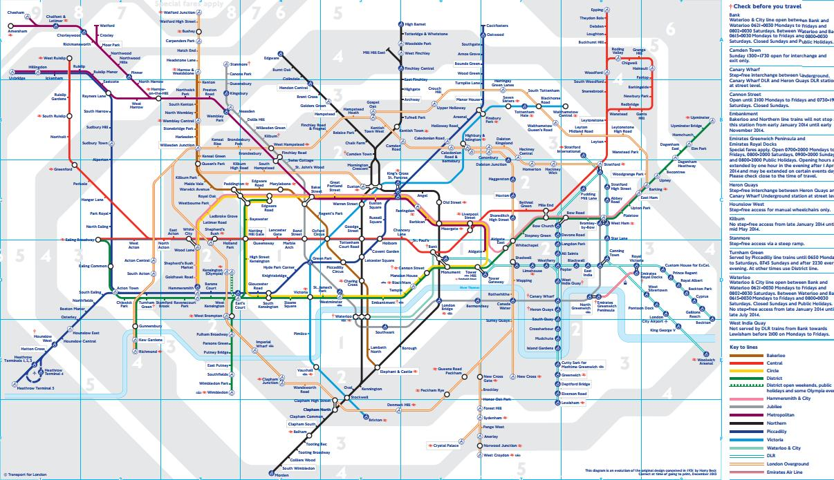 Todas as linhas de transporte e as 6 zonas de Londres.