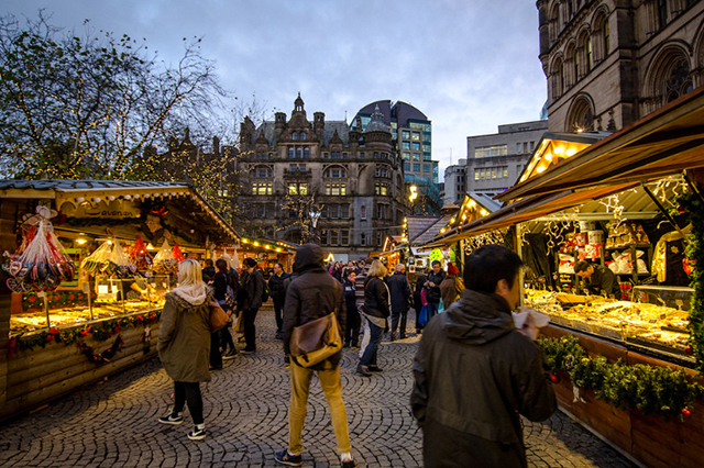 Mercado de Natal de Manchester, Reino Unido. Foto: Manchester City Marketing