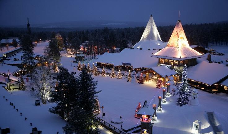 A Aldeia do Papai Noel em Rovaniemi, na Finlândia.