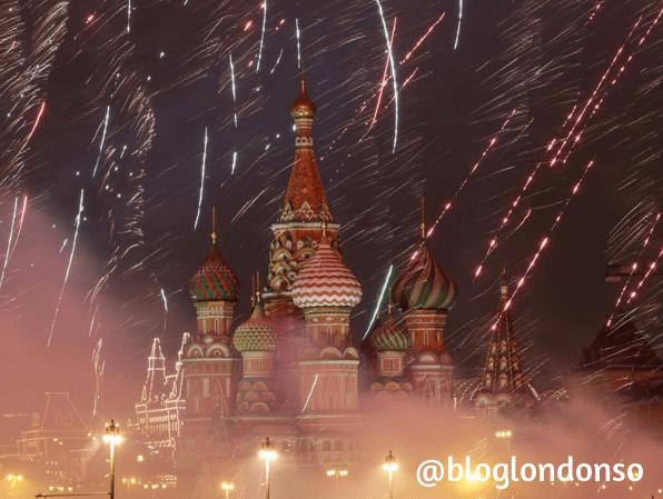 Fogos de fim de ano em Moscou - foto do instagram do blog