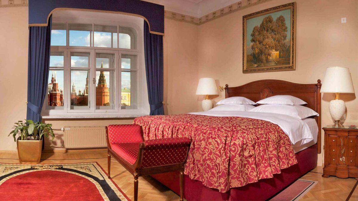 Vista de um dos quartos do National Hotel, Moscow.