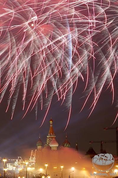 Fogos do Reveillon em Moscou
