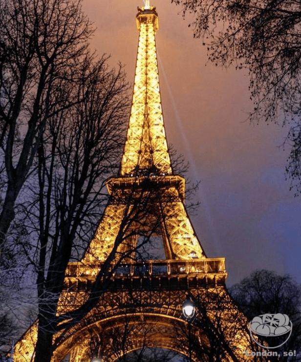 A Torre Eiffel iluminada numa noite congelante.